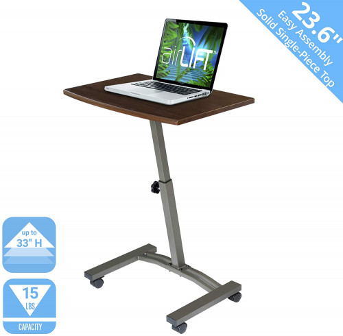 "# 1 -Seville Classics 23.6"" Solid-Top Height Adjustable Mobile Laptop Desk Cart"