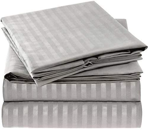 1. Mellanni Striped Bed Sheet Set - Brushed Microfiber 1800 Bedding - Wrinkle