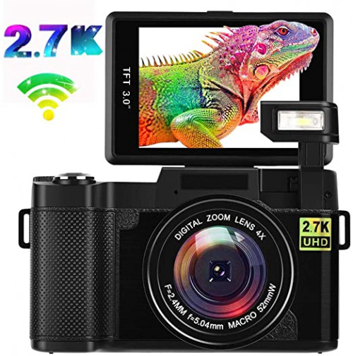 10. Digital Camera Vlogging Camera,2 4MP Ultra HD 2.7K WiFi YouTube Camera with 3.0 Inch Flip Screen and Retractable Flashlight