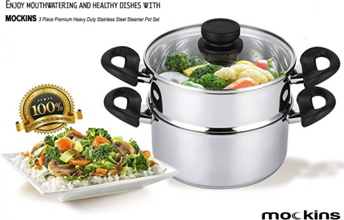 10. Mockins 3 Piece Premium Stainless Steel Steamer
