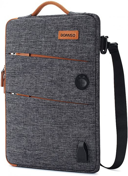 13. DOMISO 15.6 Inch Canvas Waterproof Laptop Sleeve case with USB and Headphone Port