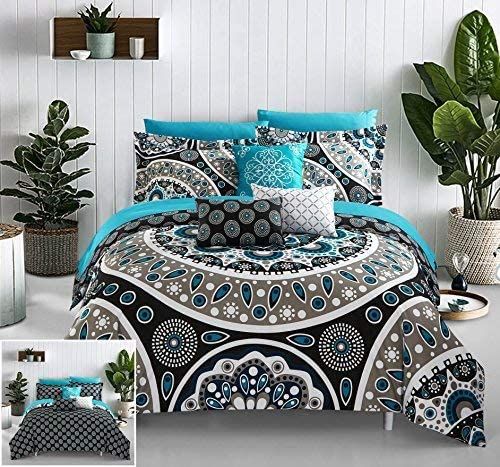 14. Chic Home 10 Piece Mornington Large Scale Contempo Bohemian Reversible Printed with Embroidered Details. Queen Bed in a Bag Comforter Set Black