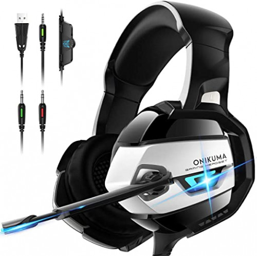 15 ONIKUMA Gaming Headset - Xbox One Headset PS4 Headset PC Headset with Noise Canceling Mic &7.1 Surround Bass