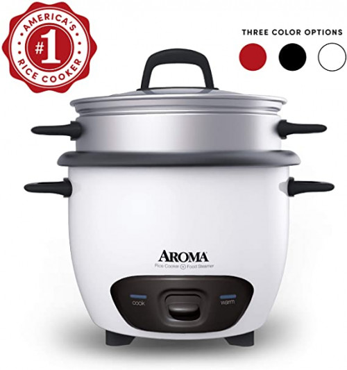 2. Aroma Housewares 6-Cup Rice Cooker and Food Steamer