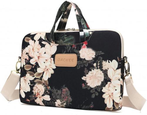 2. Dachee Black Peony Patten Waterproof Laptop Shoulder Messenger Bag