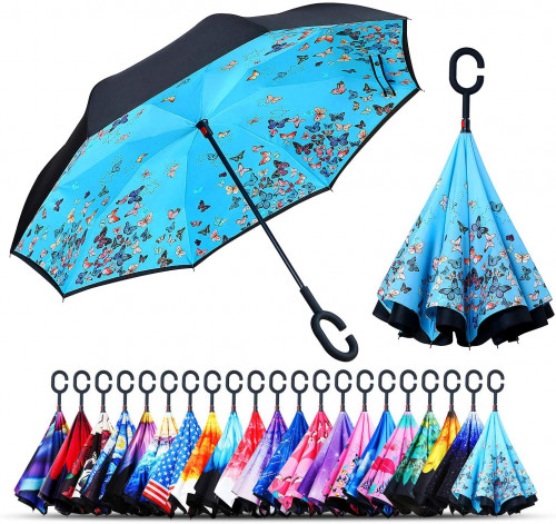 2.Owen Kyne Windproof Double Layer Folding Inverted Umbrella