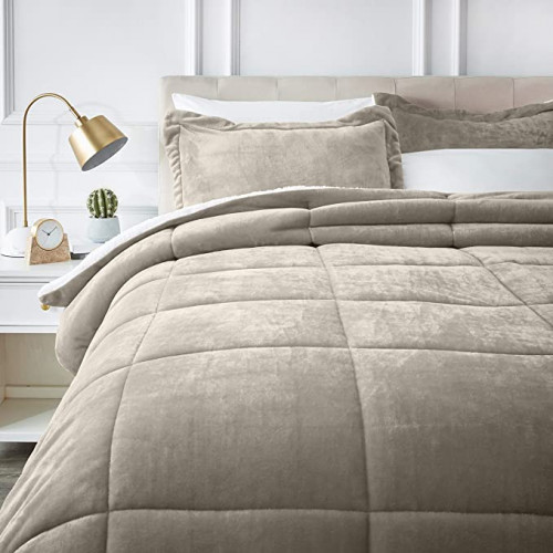 4. AmazonBasics Ultra-Soft Micromink Sherpa Comforter Bed Set - Full or Queen