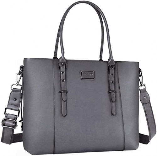4. MOSISO PU Leather Laptop Tote Bag for Women