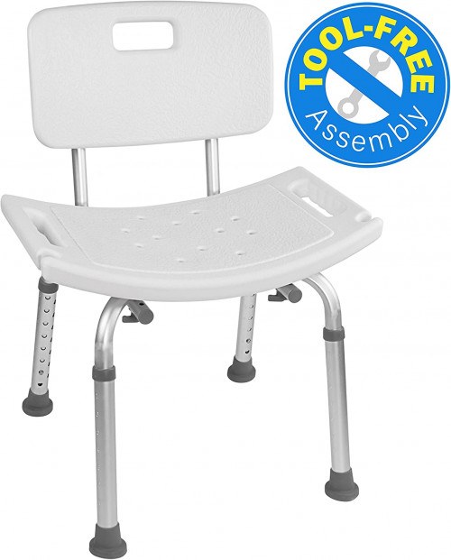 5 Vaunn Medical Tool-Free Assembly Spa Bathtub Adjustable Shower Chair
