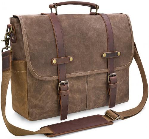 5. Men's Messenger Bag 15.6 Inch Waterproof Vintage Genuine Leather