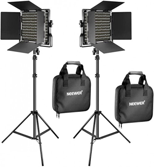 5. Neewer 2 Pieces Bi-color Light and Stand Kit
