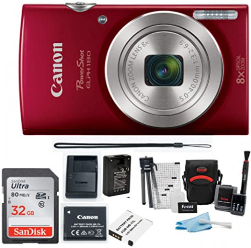 6. Canon PowerShot ELPH 180 20 MP Digital Camera (Red) + 32GB Card + Battery and Charger + Accessory Bundle