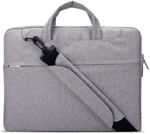 6. Lacdo Gray 15.6 Inch Waterproof Fabric Shoulder Laptop Bag