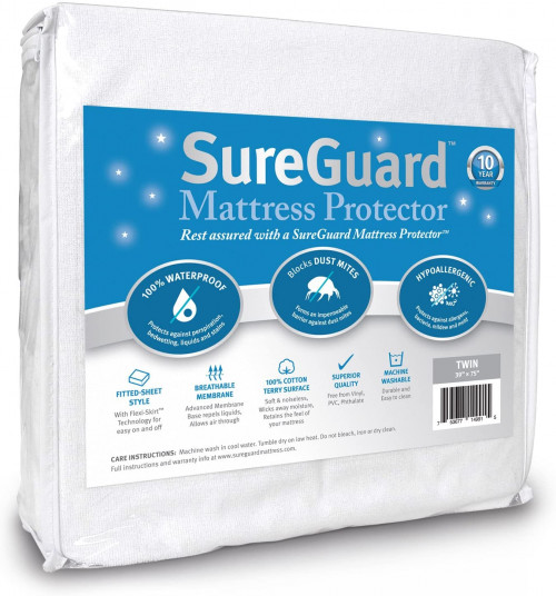 6. SureGuard Twin Size Mattress Protector