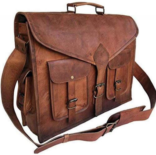 7. KPL 18 Inch Rustic Vintage Leather Messenger Bag Leather Laptop Bag