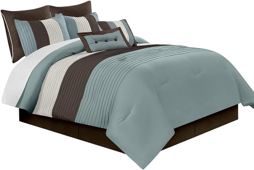 9. Chezmoi Collection 8-Piece Luxury Striped Comforter Set