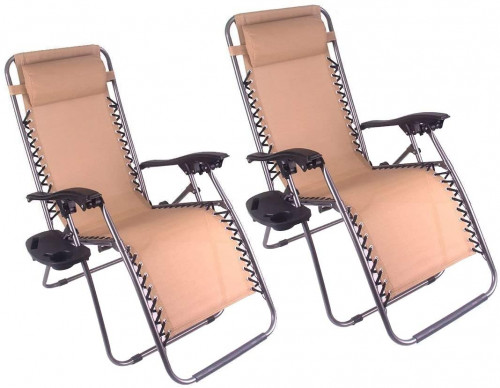 3. Polar Aurora 2pack Tan Color Zero Gravity Chairs