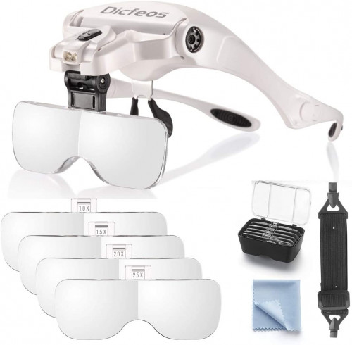#1. Dicfeos Head Mounted Magnifying Glasses