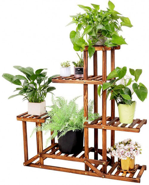 #1. Unho Wooden Indoor Plant Stands for Multiple Plants