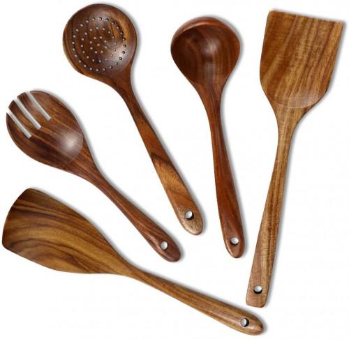 #10. Chrider Non-stick Wooden Utensils