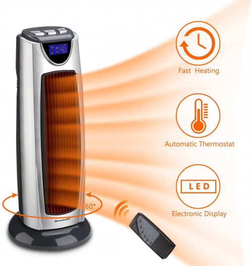 #10. HomeLeader Ceramic Tower Heater