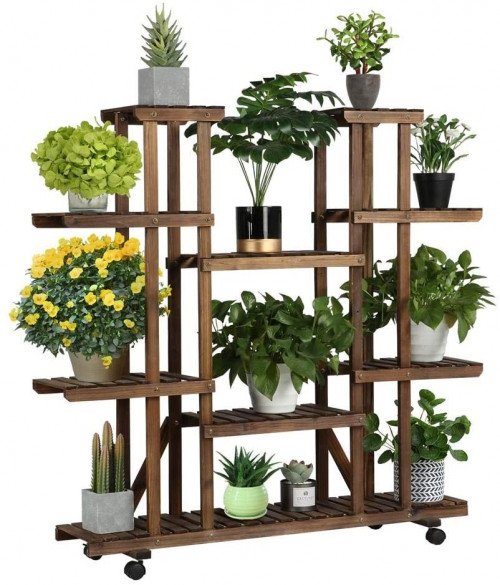 #10. YAHEETECH 4-Level Indoor Plant Stands for Multiple Plants
