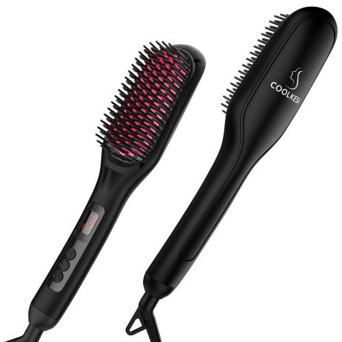 #2. COOLKESI Ionic hairbrush Straightener