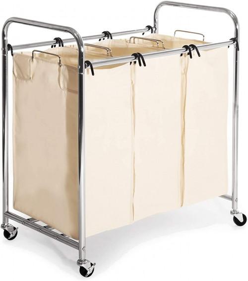 #2. Seville Classics Rolling Laundry Sorter