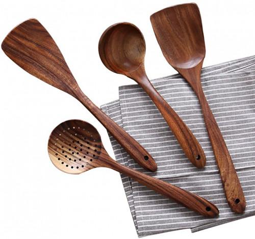 #4. NAYAHOSE Teak Wooden Utensils