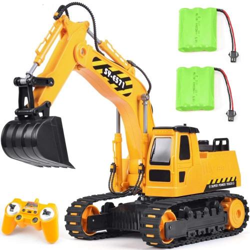 #5. DOUBLE E Remote Control Excavator Toy Truck
