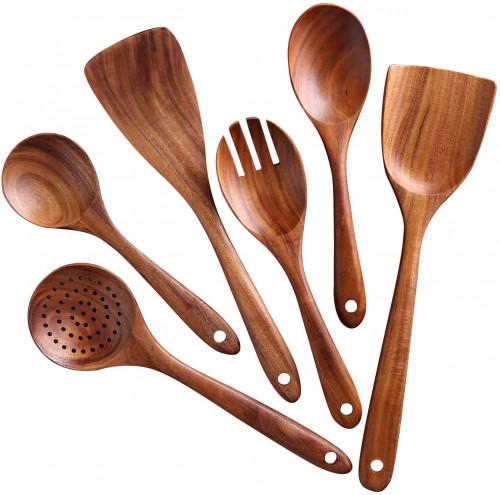 #5. NAYAHOSE Non-stick Wooden Utensils