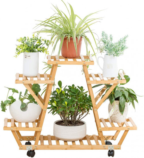 #7. CORPEE 6-Layer Indoor Plant Stands for Multiple Plants