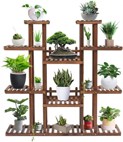 #8. TOOCA 9-Level Indoor Plant Stands for Multiple Plants