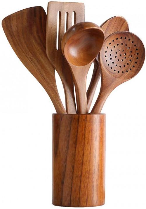 #8. TmKit Wooden Utensils Cooking Tools