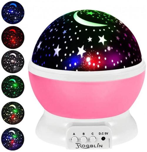 #9. ROGBLIN Realistic Moon Star Night Light Projector