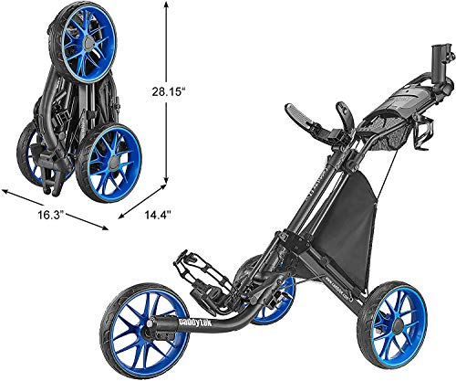 CaddyTek 3 Wheel Golf Push Cart Foldable Design