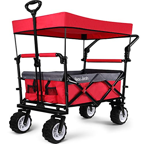 BEAU JARDIN Folding Push Wagon Cart