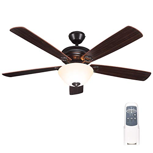Indoor Bronze Ceiling Fan with Light and Remote