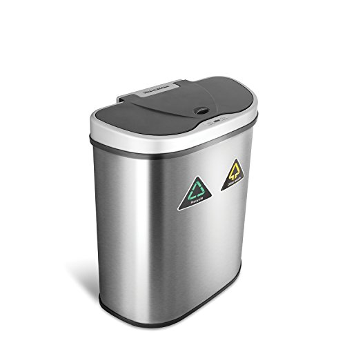 NINESTARS Automatic Touchless Dual Compartment Trash Can
