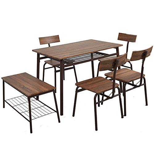 Dporticus Kitchen Table with Four Chairs and One Bench