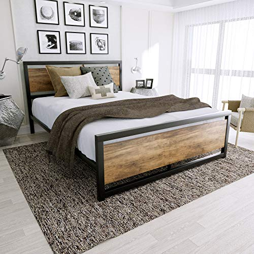 Amolife Bed Frame with Headboard and Footboard