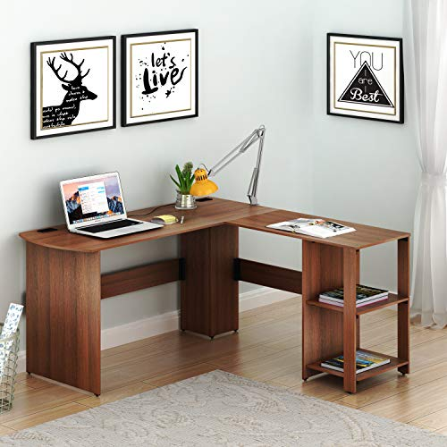 SHW Corner Desk with Bookshelf