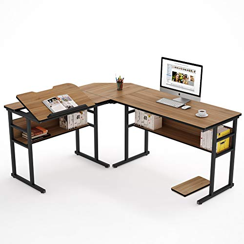 Tribesigns Industrial Corner Desk with Bookshelf