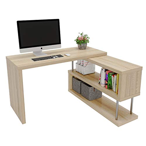 Bestier Rotating L-shaped Desk with Bookshelf